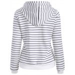 cheap Striped Button Embellished Flocking Hoodie