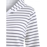 Striped Button Embellished Flocking Hoodie deal