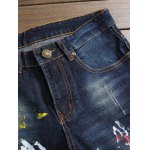 Paint Print Scratched Zipper Fly Straight Leg Jeans deal