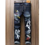 cheap Paint Print Scratched Zipper Fly Straight Leg Jeans