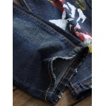 Paint Print Scratched Zipper Fly Straight Leg Jeans photo
