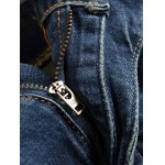 Scratched Zippered Pocket Rivet Paneled Ripped Jeans for sale