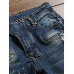 Scratched Zippered Pocket Rivet Paneled Ripped Jeans deal