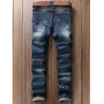 cheap Scratched Zippered Pocket Rivet Paneled Ripped Jeans