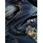 best Scratched Zippered Pocket Rivet Paneled Ripped Jeans