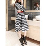 cheap Houndstooth Fit and Flare Wool Coat