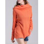 cheap Ribbed Knit Cowl Neck Tunic Sweater