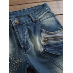 Pocket Zippered Scratched Distressed Jeans deal