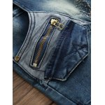 best Pocket Zippered Scratched Distressed Jeans