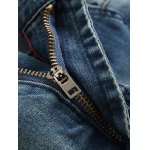 Pocket Zippered Scratched Distressed Jeans for sale