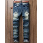 cheap Pocket Zippered Scratched Distressed Jeans