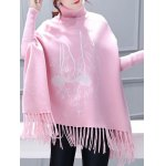 cheap Turtleneck Batwing Sleeve Embroidered Asymmetric Cape Sweater