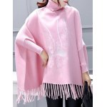 Turtleneck Batwing Sleeve Embroidered Asymmetric Cape Sweater deal