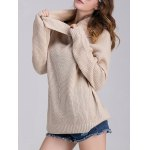 Cowl Neck Ribbed Knit Sweater for sale