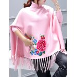 cheap Batwing Sleeve Embroidered Asymmetric Cape Sweater