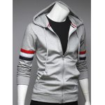 cheap Zip Up Pocket Front Striped Sleeve Hoodie