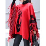 Batwing Sleeve Striped Asymmetric Cape Sweater
