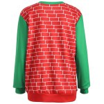 cheap 3D Christmas Print Color Block Sweatshirt