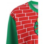 3D Christmas Print Color Block Sweatshirt deal