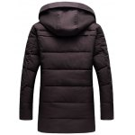 cheap PU Patch Flap Pocket Hooded Padded Coat