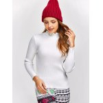 cheap High Neck Ribbed Knit Sweater