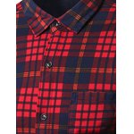 cheap Turndown Collar Thicken Color Block Checked Pattern Shirt