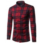 Turndown Collar Thicken Color Block Checked Pattern Shirt