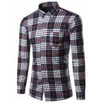 Turndown Collar Thicken Color Block Checked Print Shirt