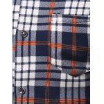 Turndown Collar Thicken Color Block Checked Print Shirt deal