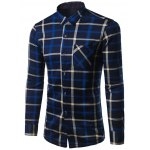 Turndown Collar Thicken Color Block Plaid Pattern Shirt