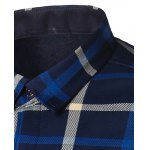 cheap Turndown Collar Thicken Color Block Plaid Pattern Shirt