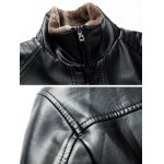 Stand Collar Zip Up PU Leather Jacket deal