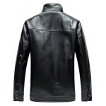 cheap Stand Collar Zip Up PU Leather Jacket