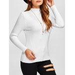 High Neck Openwork Ribbed Sweater