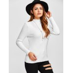 High Neck Openwork Ribbed Sweater deal