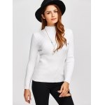 cheap High Neck Openwork Ribbed Sweater
