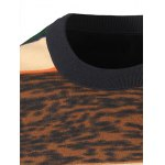 cheap Crew Neck Color Block Leopard Spliced Stripe Sweater