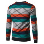 cheap Crew Neck Color Block Spliced Cross Stripe Sweater