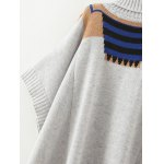 Batwing Sleeve Geometric Oversized Sweater for sale