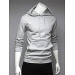cheap Long Sleeve Drawstring Plain Hoodie