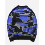 cheap Crew Neck Camouflage Graphic Long Sleeve Sweater