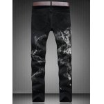 cheap Zip Fly Straight Leg Graphic Jeans