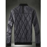 cheap PU Leather Spliced Stand Collar Argyle Quilted Jacket