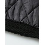best PU Leather Spliced Stand Collar Argyle Quilted Jacket