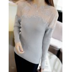 cheap Embroidered Mesh Insert Ribbed Knitwear