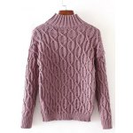 cheap High Neck Cable Knit Sweater