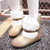 Suede Panel Buckle Strap Fuzzy Snow Boots deal