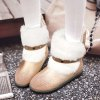 cheap Suede Panel Buckle Strap Fuzzy Snow Boots