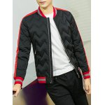 cheap Color Block Spliced Stand Collar Waviness Cotton Padded Jacket