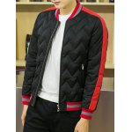 Color Block Spliced Stand Collar Waviness Cotton Padded Jacket deal